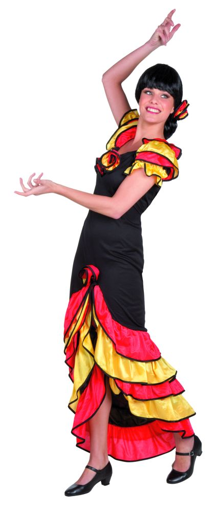 spanierin flamenco rumba t nzerin kleid karneval fasching. Black Bedroom Furniture Sets. Home Design Ideas