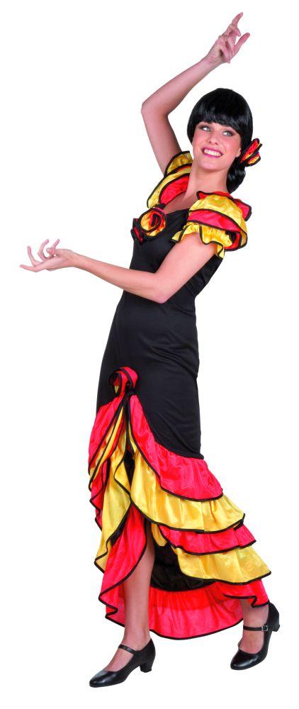 spanierin flamenco rumba t nzerin kleid karneval fasching kost m. Black Bedroom Furniture Sets. Home Design Ideas