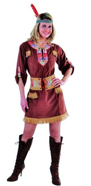 Squaw Faschingskostum Grosse Grossen Indianerin Wild West Damenkostum