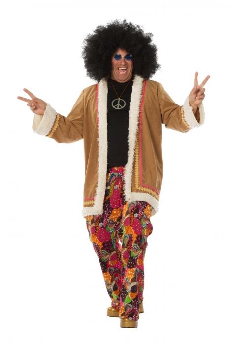 xxl 70er jahre faschingskost m hippie mit langem mantel. Black Bedroom Furniture Sets. Home Design Ideas